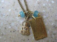 Marie Chave Bronze Buddha & Blue Czech  Necklace