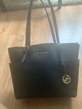 Genuine Michael Kors Large Black Jet Set Black Leather Tote Bag Handbag
