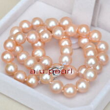 "AAAAA 18""11-12mm round REAL NATURAL south sea gold pink pearl necklace 14K"