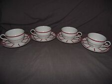 Set of 4 Ralph Lauren Red Pagoda Cups and Saucers