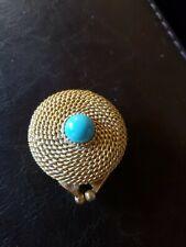 Vintage Estee Lauder Perfume Pill Box Goldtone With Blue Ball