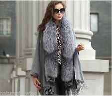 Soft Warm/100%Wool 100% Silver Fox Fur Poncho/cloak /Coat/cape//Wraps/Gray