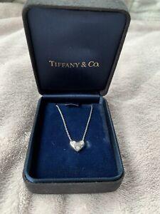 Genuine Tiffany & Co. Platinum & Diamonds Heart Pendant Necklace