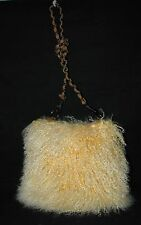 TAN BROWN GENUINE MONGOLIAN LAMB/SHEEP FUR/HAIR CROSSBODY HANDBAG,PURSE-NEW