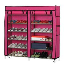 Double Row 6 Tier 12 Grid Shoe Boot Tower Rack Organizer Storage Cabinet w/Cover