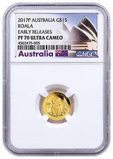 2017 Australia 1/10 oz Gold Koala - Proof $15 Coin NGC PF70 UC ER SKU48593