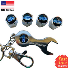 4x FORD Tire Valve Cap Air Valve Stem Cover With Wrench Keychain (Silver)