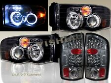 02-05 DODGE RAM TWIN HALO PROJECTOR HEADLIGHTS w/ LED BLACK + LED TL SMOKE NEW