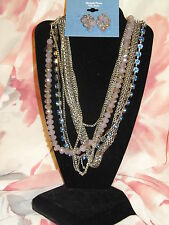 SIMPLY VERA WANG NWT $62 women's necklace earrings set multi strand blue