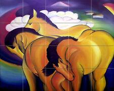 Art Marc Franz Yellow Horses Mural Ceramic Backsplash Bath Tile #2112