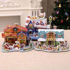 DIY Wooden Cottage Dollhouse Miniature Kit Dolls House Furniture LED Light
