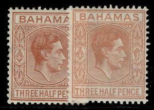 BAHAMAS GVI SG151 + 151a, 1½d SHADE VARIEITES, M MINT. Cat £12.