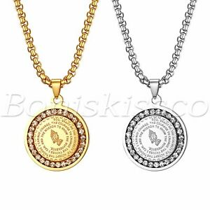 Men's Stainless Steel Rhinestone Bible Text Prayer Tag Pendant Necklace Chain