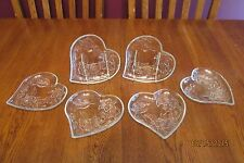 Set Of Six Clear Glass KIG Indonesia Heart Shaped Plates ~ Hummingbird & Flowers