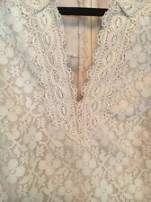 Vintage Princess Kaiulani Hawaii Wedding Dress 14 Ivory Lace Boho 60's Retro