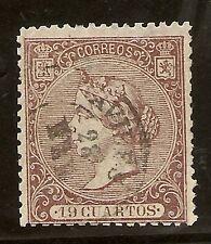Edifil  83 (º)  19 cuartos Castaño  Isabel II  1866  CERTIFICADO   NL1182