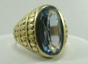 Stunning 10K Solid Gold Blue Topaz Gemstone Ring Size 9.25 SAVE 700 #R722