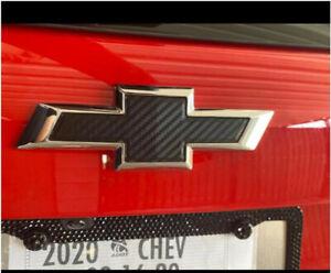 2X Carbon Fiber Bowtie Vinyl Sheets Emblem Overlay For Chevrolet