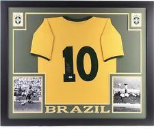 """Pele Signed Brazil 35"""" x 43"""" Custom Framed Jersey (Psa Coa)"""