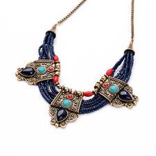 Lady Retro Turquoise Coral Blue Bead Tibetan Necklace Lapis Lazuli Stone Chain N