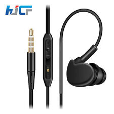 OVER EAR CLIP HEADPHONE HOOK SPORTS GYM JOGGING RUNNING EARPHONES WITH MIC GREEN