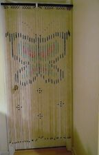 Vintage Wood Bamboo Beaded Hanging Doorway Room Divider Butterfly Pattern