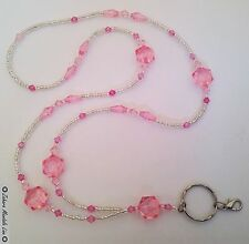 Silver Pink & Clear ID Badge Holder Tag HANDMADE Beaded Lanyard Fashion Necklace