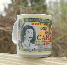 Canada 1973 One Dollar Bill Queen Elizabeth II Paper Money Coffee Mug Canadian