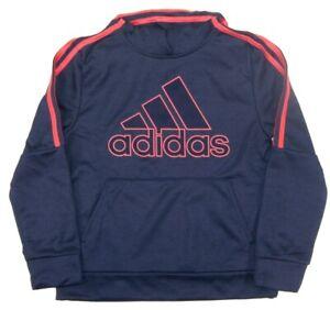 ADIDAS Boys Poly Fleece Hoodie NWT Navy & Orange Sweatshirt   M 10/12 or L 14/16
