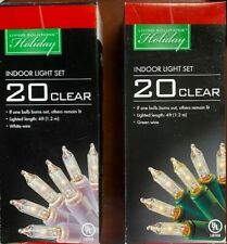20CT Clear Mini Light Set White or Green Wire 4ft Christmas Wedding Indoor 70%OF