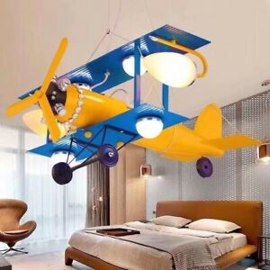 Red Or Blue Airplane Ceiling Light Chandeliers Children Bedroom