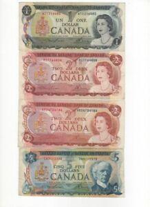 Bank of Canada $ 1,2,5 Dollars. 1972, 1973,1974