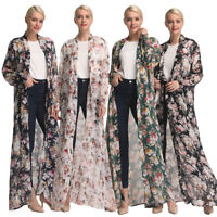 Muslim Lady Floral Chiffon Long Open Cardigan Maxi Dress Robe Abaya Islamic Gown