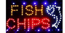 Super brillante LED Fish & Chips signo para tienda frentes/Windows
