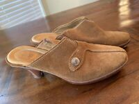 COLE HAAN Size 8 Tan Brown Suede Leather Slip On Mules Made In Brazil Shoes