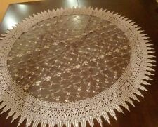 """French Country Rose with Macrame-36""""Round -Floral Table Topper-Lavender."""