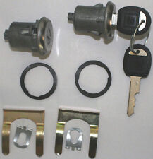 NEW PAIR PONTIAC GM OEM DOOR LOCK KEYED CYLINDER W/2 OEM GM LOGO KEYS TO MATCH