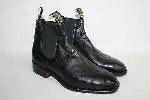 R.M. WILLIAMS Men's Black Leather Square Toe Chelsea Ankle Boots EU41 UK7.5