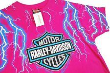NWT L vtg 80s Harley Davidson Motorcycles T Shirt LIGHTNING Pink DEADSTOCK Biker