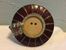 Gorgeous Vintage Style Butterfly Burgundy Enamel Picture Frame w/ Rhinestones