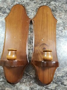 """Lot of 2 Wood Candle Holders Wall Sconces Mid Century 15"""" Tall FAST SHIP"""