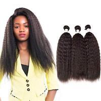 Extension de cheveux humains non transformés 100% brésiliens Yaki Kinky Straight