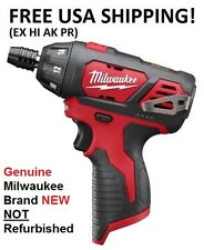 "MILWAUKEE M12 1/4"" Hex Compact Cordless Screwdriver Driver 2401-20 Brand New!"
