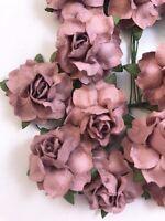 Mulberry Paper Rose Flower Mauve  Bouquet/scrapbooking/wedding Dusty rose