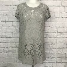 Anthropologie Paper Crane Small Lace Top Gray Sheer Short Sleeve