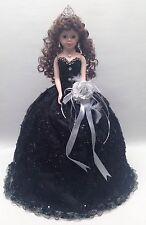 NEW Black 22 inch XV 15 Anos Quinceanera Sequins Porcelain Umbrella Muñeca Doll
