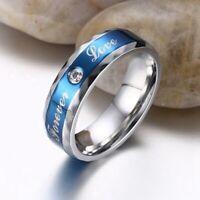 Damen Herren Blau Saphir Braut Verlobung Hochzeit Herz Ring Schmuck Spezial Nett