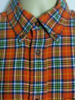 Orvis Long Sleeve Button Down Light Flannel Shirt Orange Check Mens Large