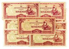 10 Burma 1940's WW2 paper money circ. 10 Rupees Japanese invasion