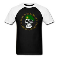 New French Foreign Special Forces Black Raglan White T Shirt Mens Size